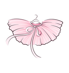 Pink tutu skirt with corrugated edges on hanger vector