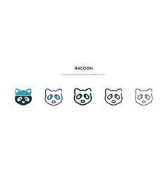 Racoon icon in different style two colored vector