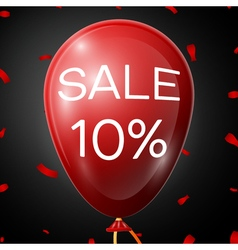 Red Baloon with 10 percent discountsover black vector