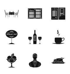 Restaurant set icons in black style Big vector image