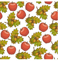ripe apples oak tree leaves with acorn seamless vector image