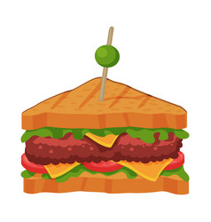 sandwich with tomato cheese meat patty and vector image