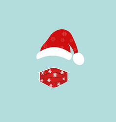 santa claus wearing surgical mask and red hat vector image
