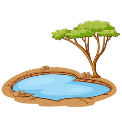 Scene with green tree and small pond vector