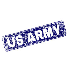 Scratched us army framed rounded rectangle stamp vector