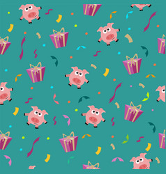 seamless birthday romantic pattern with pig and vector image