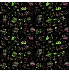 Seamless pattern flowers floral on black vector