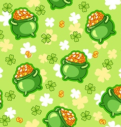 Seamless pattern with a pot of gold four-leaf vector image