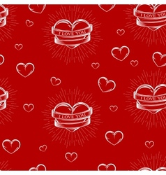 seamless pattern with engraving hearts vector image