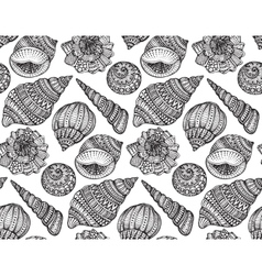 Seamless pattern with hand drawn ornate seashells vector