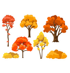 Set autumn abstract stylized trees vector