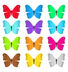Set of colored butterflies vector image