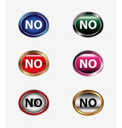 Set of no button isolated vector