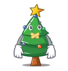 Silent christmas tree character cartoon vector