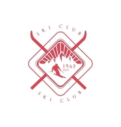Ski Club Red Emblem Design vector image