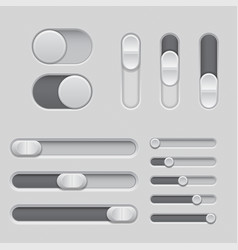Slider bars set of gray volume level console vector