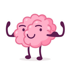 Strong muscular pink brain funny human nervous vector
