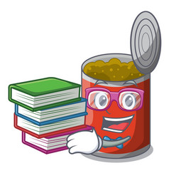 Student with book canned food on the tablecloth vector