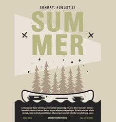 Summer camp flyer a4 format canoe adventure vector