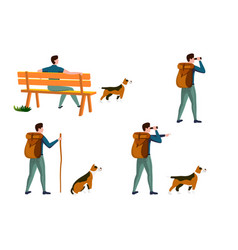summer travel activities set - man with dog vector image