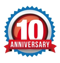 Ten years anniversary badge with red ribbon vector