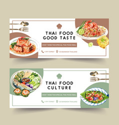 Thai food banner design with pad chili paste vector