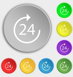 Time 24 icon sign symbol on eight flat buttons vector