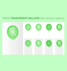 transparent green balloon with various options vector image