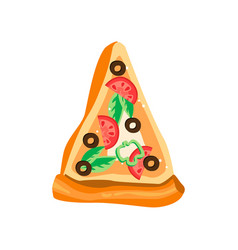 Triangle slice pizza with fresh ingredients vector