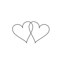 Two linked hearts icon isolated heart two love vector