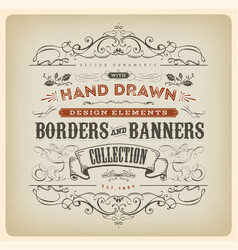 Vintage calligraphy banner with ornaments vector