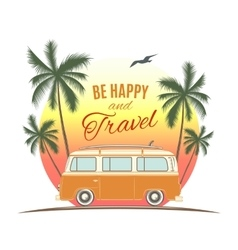 Vintage retro surf van with palms and sun vector image