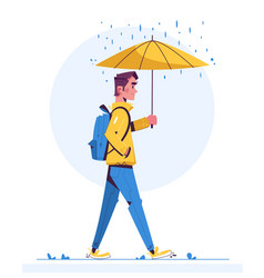 Walk in rainy day flat vector