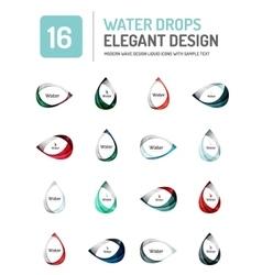 water elegant symbol set vector image
