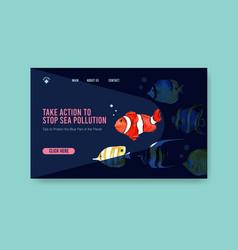 Website template design for world oceans day vector