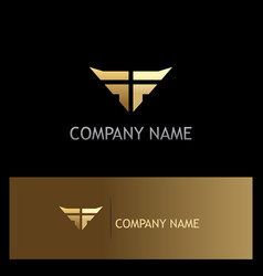 Wing abstract gold company logo vector