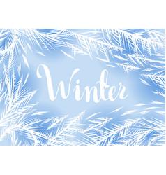 Winter frozen window background vector