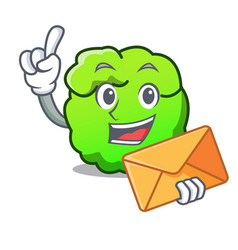 with envelope shrub character cartoon style vector image