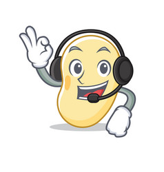 With headphone soy bean mascot cartoon vector