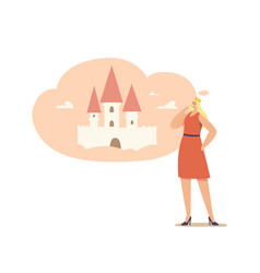 woman in crown on head imagine herself as princess vector image
