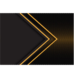 Yellow arrow light direction hexagon mesh vector