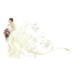 bride beautiful wedding dress pattern background vector image