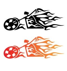 Flaming Custom Chopper Motorcycle Logo vector image vector image