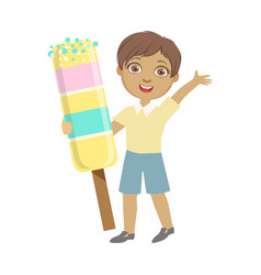 happy little boy holding a huge ice cream a vector image vector image