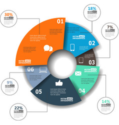 Modern paper infographics in a pie chart for web vector