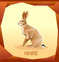 origami brown hare vector image