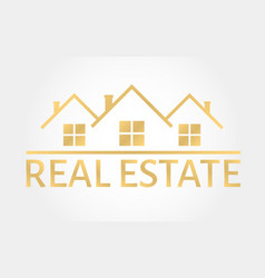 real estate gold logo house icon in line style vector image