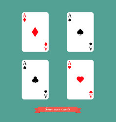 set of four aces playing cards vector image