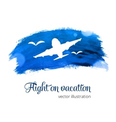 Silhouette plane on the watercolor vector image