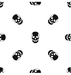 skull pattern seamless black vector image